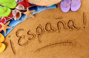 Spain beach writing