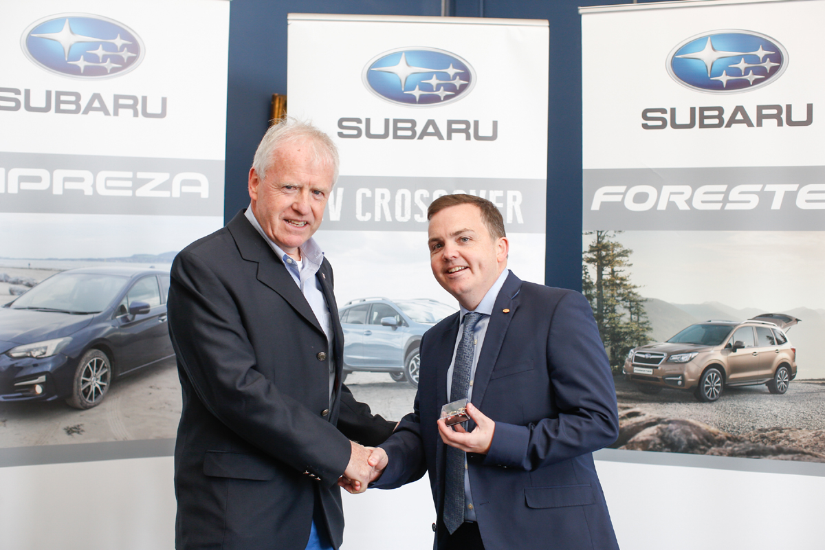 Shaking hands on Subaru sponsorship of F15 Worlds